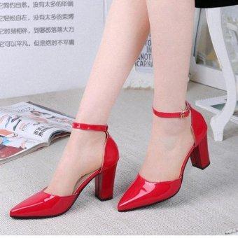 Sandal bít mũi da bóng-Red