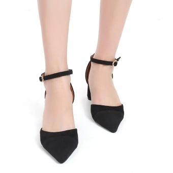 Cyber Patchwork Point Toe Ankle Strap Mid Heel Sandals ( Black ) - intl