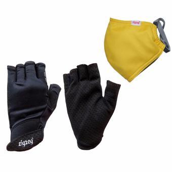 Bộ gồm găng tay Sport+ khẩu trang nhỏ chống nắng UPF50+ zigzag COGM25 (đen+vàng)