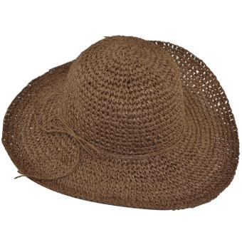 Women Foldable Straw Sun Visor Wide Large Brim Floppy Hat (Intl)