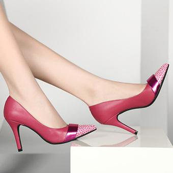 Giày cao gót mũi nhọn da beo CG1142 (Hồng)