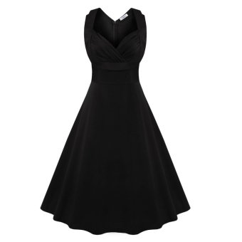 Retro Dress Sleeveless Big Hem V-neck(Black) - Intl