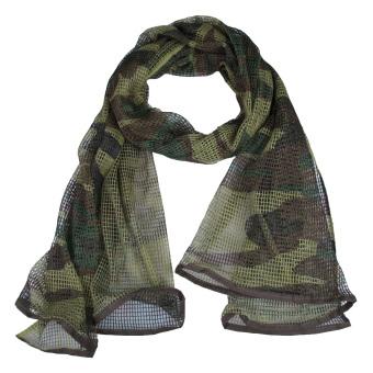 Versatile Forest Camo Mesh Scarf Outdoor Muffler Breathable Tactical Hood - intl
