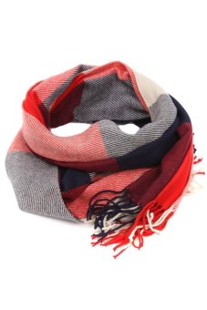 LALANG Plaid Knitting Scarf (Red/Blue) - Intl