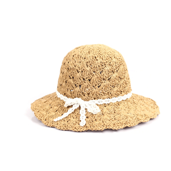 Women Mother Ladies Summer Large Brimmed Hollow Beach Straw Sun Hat Cap Khaki (Intl) - intl
