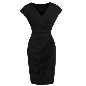 Linemart Women's Classic Cap Sleeve V-Neck Draped Tie-Belt Cocktail Wrap Dress ( Black ) - intl