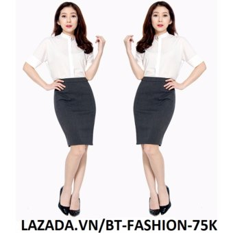 Váy Công Sở Thời Trang Cao Cấp - BT Fashion VCS003A (Dài - Xẻ Sau - Xám)