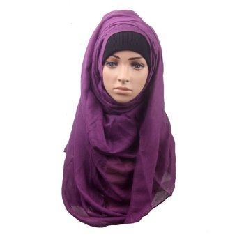 Fashion Muslim Women Shawl Scarf Head Cover Headscarf Muffler Purple