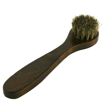 Portable Long Wooden Handle Round Horse Hair Shoe Leather Shoes Cleaning Polishing Dusting Brush