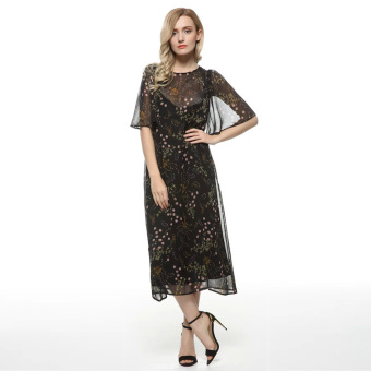 Women Chiffon Dress Two Pieces O-Neck Half Sleeves Floral Print 1802 - intl