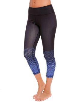 Cyber Women Casual Gradient Color Slim Yoga Pants Legging for Sport Fitness ( Black + Blue ) - intl