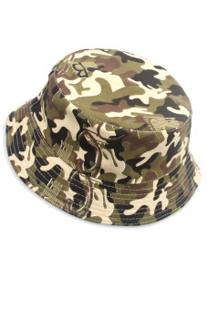 Kid Baby Canvas Foldable Sun Bucket Hat Cap for Outdoors Activities Army Green Camouflage (Intl)