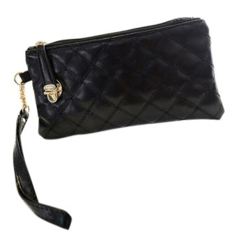 Bluelans Women's Rhombus PU Leather Clutch Wallet Card Holder Purse Handbag (Black) (Intl)