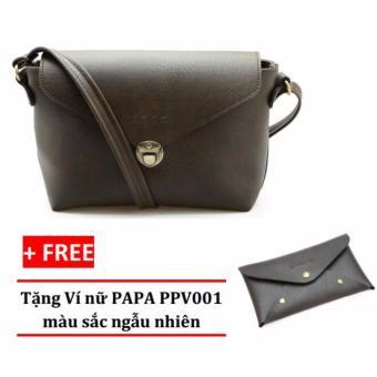 Túi đeo chéo nữ PAPA PPT005 (Màu nâu) + Ví nữ PAPA PPV001
