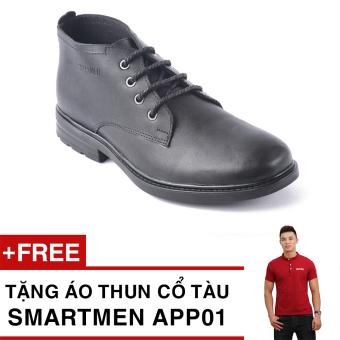 Giày Da Cổ Lửng Tăng Chiều Cao Smartmen Gd1-04 (Đen) + Tặng Áo Thun Nam App01