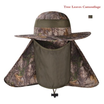 Lan-store Professional Outdoor Summer Sun Hats Wide Brim Breathable Cap for Beach Fishing Hiking Camping Anti-UV Anti Mosquito Hats (Tree Leaves) - intl