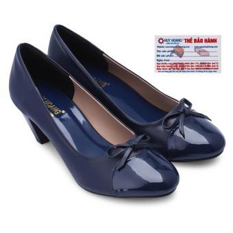 HL7014 - Giày búp bê Huy Hoàng gót cao 5cm màu xanh đậm