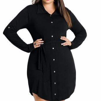 Fancyqube 2016 Women Casual Long Sleeve Shirt Dress Plus Size Mini Dress Black Color - intl