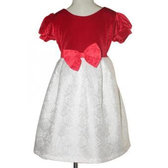 Đầm nhung đỏ gấm trắng bé gái 2-9 tuổi Tri Lan DBG040