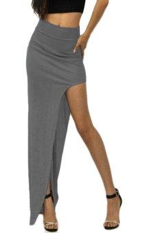 Linemart Maxi High Waist Open Side Skirt (Grey) - intl