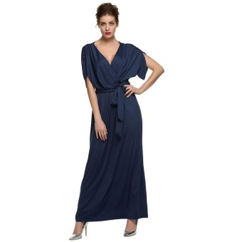 Cyber ANGVNS Sexy Women Batwing Sleeve Deep V Neck Solid Maxi Long Dress Party Evening Full Gown with Belt ( Navy Blue ) - Intl