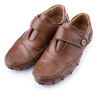 Male Pure Color Skid Resistance Leather Shoes(Brown) - intl