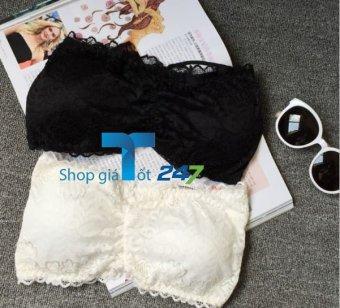 Combo 02 áo ống bra quai chéo pha ren The ladies GT 247 (Đen và Trắng)