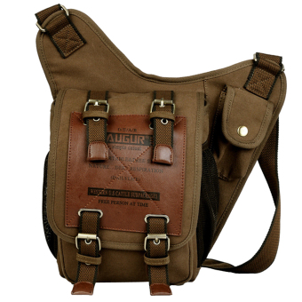 BolehDeals Vintage Canvas Waist Bag Shoulder Messenger Rucksack Corssbody Bag - Coffee - Intl
