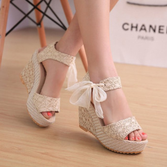 Sexy Lace Shoes Peep Toe Wedge Womens Platform High Heel Pump Sandals Bowknot - Intl