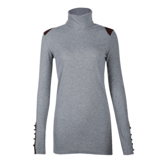 Lady Korean Knit Slim Long Sleeve High Collar Sweater Blouse TopGrey - intl