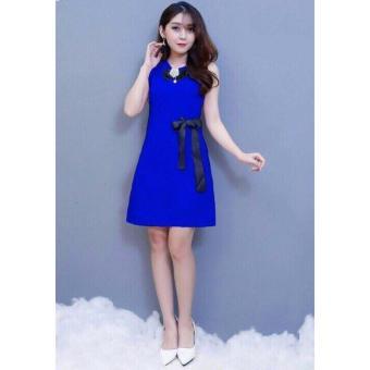 Đầm đính nơ dễ thương ( xanh)