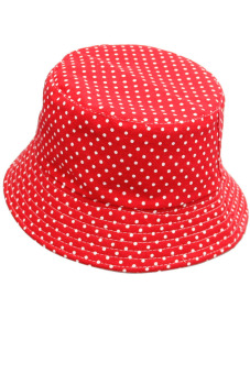 Kid Baby Canvas Foldable Sun Bucket Hat Cap for Outdoors Activities Red Dot (Intl) - intl