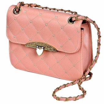 Leather Messenger Handbag Shoulder Bag Pink - intl