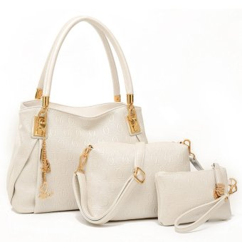 women leather handbags Handbag+Messenger Bag+Purse 3 Sets (White) (Intl)