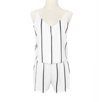 New Fashion Women Striped Chiffon Jumpsuit Scoop Neck Spaghetti Strap Boho Beach Shorts Rompers White - Intl