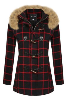 Cyber ACEVOG Women Bodycon Plaids Detachable Faux Fur Hooded Long Solid Slim Wool Blend Coat Outerwear Overcoat ( Red ) - Intl