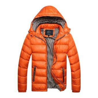 Men's Hooded Autumn winter Korean Version Slim Detachable Cotton Padded Coat Thickened Gentleman Coat (Orange) - intl