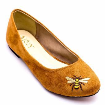 Giày Búp Bê Da Lộn Thêu Hình Xinh Xắn MZBB42.3