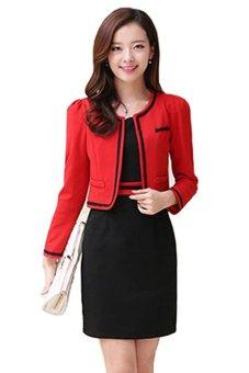 Set áo khoác + váy đồng bộ Siêu Thị Tuổi Teen MS1 (đỏ đen)