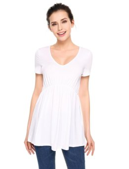 Cyber Women Casual V-Neck Short Sleeve Solid Pleated Hem Slim Pullover T-shirt Tops ( White ) - intl