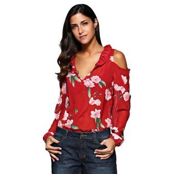 Women V-Neck Flounced Floral Chiffon Blouse (Red) - intl