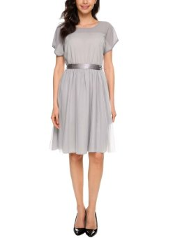 Cyber Women Casual O-Neck Short Sleeve See Through Mesh Patckwork Dress ( Grey ) - intl