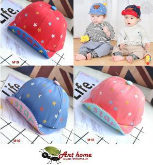 Nón (mũ) lưỡi trai vải cottone cao cấp Star cho bé nền hồng (M19)