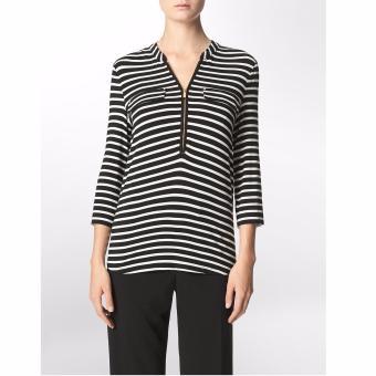 Áo thun nữ sọc ngang Calvin Klein khóa kéo kim loại - hàng nhập khẩu