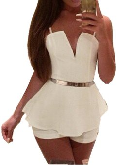 IT Sexy Womens V Neck Bodycon Jumpsuit Romper Trousers Clubwear Bandage Dress - Intl