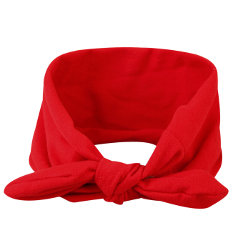 Hoop Stretch Knot Bow Bohemia Cotton Headbands(Red) - intl