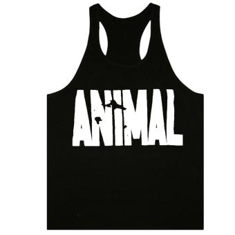 Moonar Men's Fashion Animal Letters Pattern Fitness Tank Top H-back Vest M-XXL (Black&White Letter) - intl