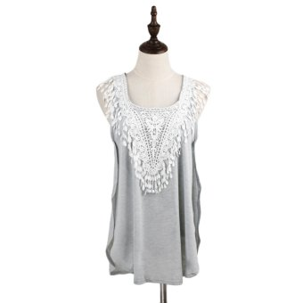 New Fashion Women T-Shirt Crochet Lace Side Splits Round Neck Sleeveless Casual Tank Top Grey - Intl