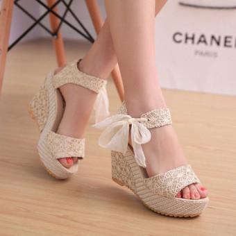 Sexy Lace Shoes Peep Toe Wedge Womens Platform High Heel Pump Sandals Bowknot - Intl - Intl