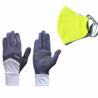 Bộ gồm găng tay Nonstop+ khẩu trang nhỏ chống nắng UPF50+ zigzag (xám đen+xanh lá)